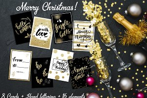 Christmas Gold Lettering + Cards