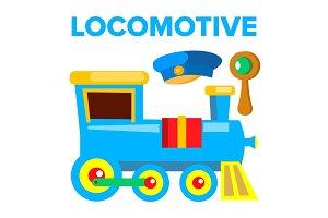 Locomotive Vector. Children Toy