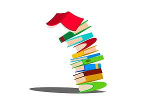 Falling Down Stack Of Book Vector