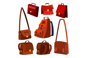 Brown Leather Bag Set Vector