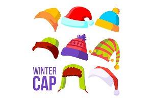 Winter Cap Set Vector. Cold Weather