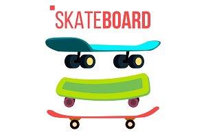 Scateboard Set Vector. Skate Park