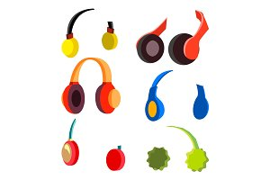 Headphones Set Vector. Modern