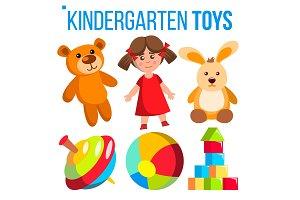 Kindergarten Toys Set Vector