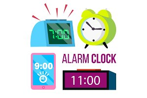 Alarm Clock Set Vector. Time. Early