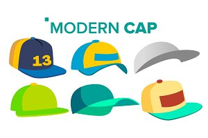 Summer Cap Set Vector. Man, Woman