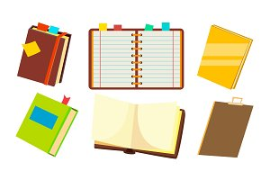 Notebook Set Vector. Office Personal