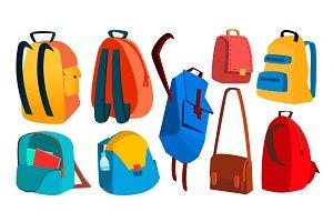 School Backpack Set Vector