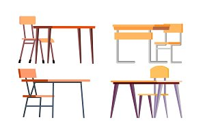 School Desk Set Vector. Chipboard