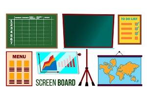 Screen Board Set Vector. Business