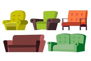 Sofa, Chair Set Vector. Home