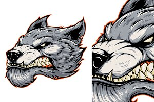 Head of a fierce werewolf wolf