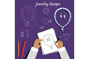 Jewerly Sketch Banner. Necklace and