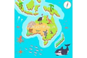 Australia Isometric Map with Flora