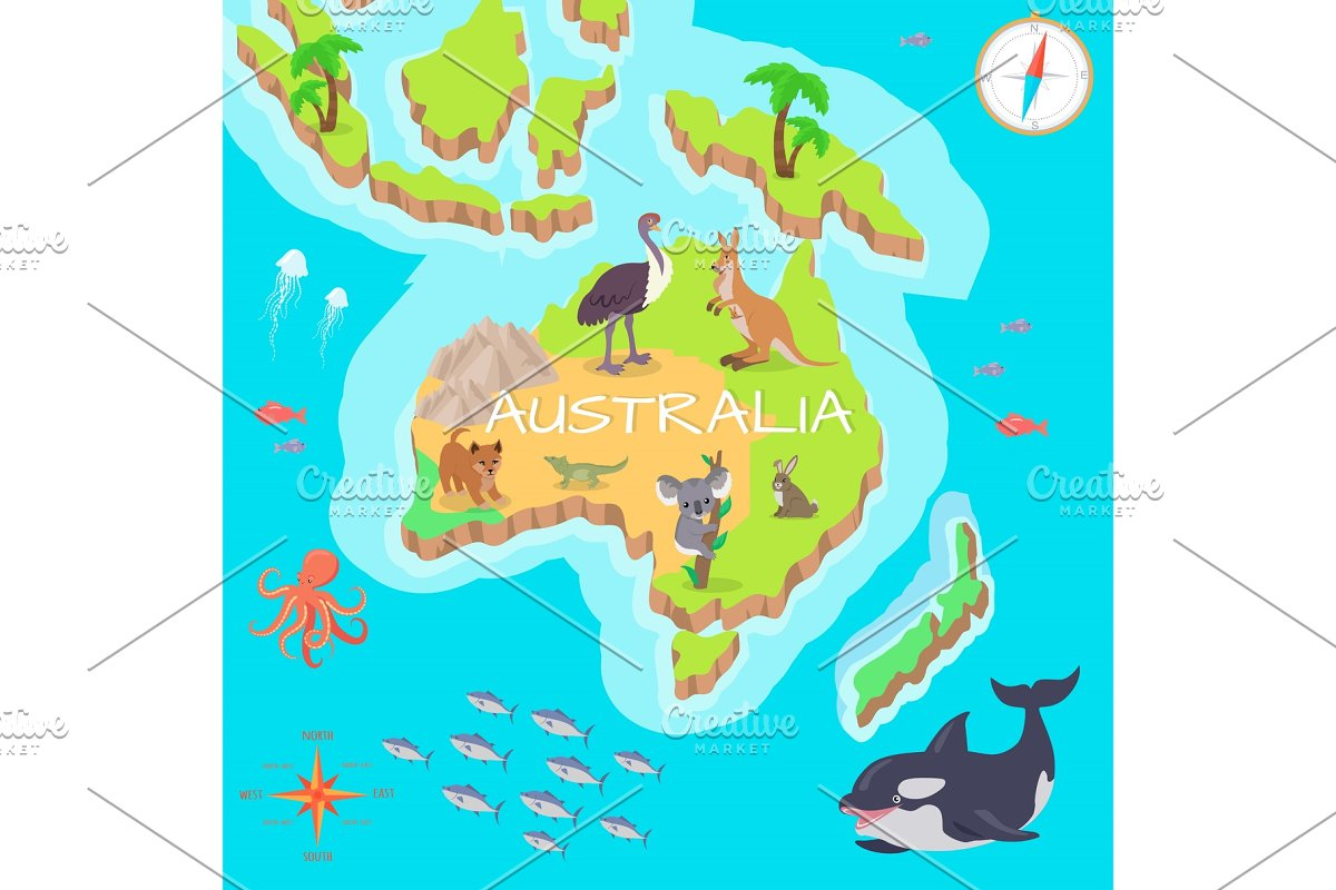 Australia Global Map.Australia Isometric Map With Flora