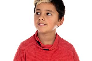 Pensive child with ten years and wic