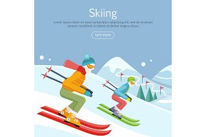 Skiing Banner. Skiers on Snowy Slope