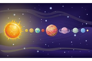 Solar System Design. Space with
