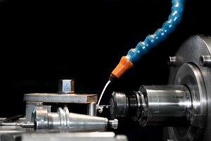 CNC machining station at work