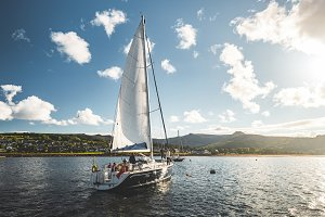 Tourists on the sailing yacht