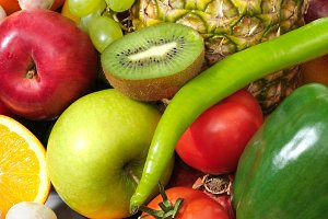 fruits and vegetables isolated on a