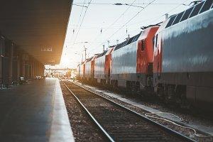 Multiple locomotives, railway depot