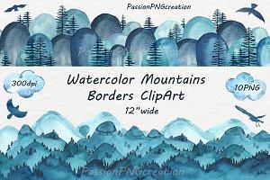 Watercolor Mountain Borders Clip Art