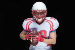 American football player wearing