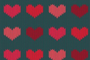 Valentines Day knitted woolen hearts