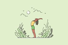 Set of Yoga Practice Illustrations