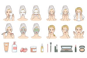 Vector woman applying facial mask