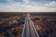 Aerial view of train tracks on a bri by  in Transportation
