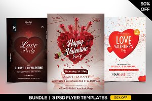 50% OFF - 3 Valentines PSD Flyers