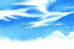 Blue Sky Oil Pastel 1