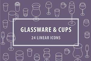 Glassware & Cups - Set of 24 Icons