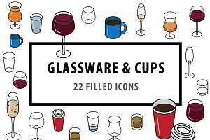 Glassware & Cups – 22 Filled Icons