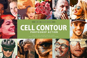 Cell Contour Photoshop Action