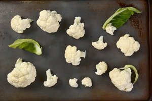 Cauliflower Florets on Baking Sheet