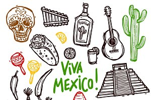 Mexico doodle icons set