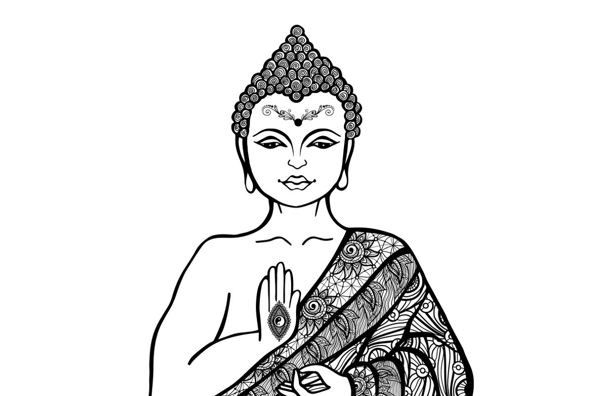 Save decorative buddha sketch