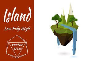 Flying island with mountains. Vector