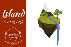 Flying Island. Vector