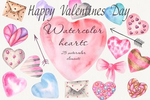 Gentle watercolor hearts