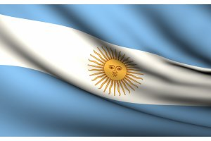 Flying Flag of Argentina . All