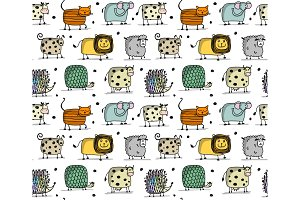Funny animals, seamless pattern for
