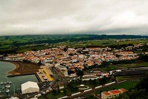 Aerial panoramic view to Praia da Vi