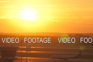 Airport view with moving plane at
