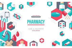Pharmacy Banner Icons in Hexagons