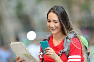 Teen tourist consulting online infor