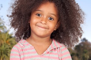 African American girl with afro hair